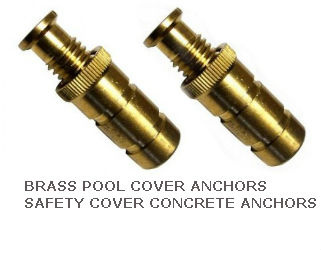 Brass pool cover anchors winter swimming pool concrete anchors safety cover anchors for Swimming pool winter cover anchors